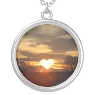 Heart Large Silver Plated Round Necklace