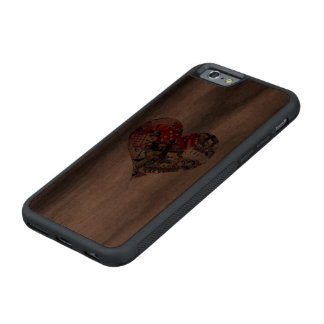 Heart - Las Vegas Playing Card Shape Carved Walnut iPhone 6 Bumper Case