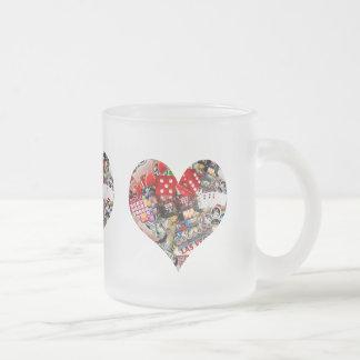 Heart - Las Vegas Playing Card Shape Frosted Glass Coffee Mug