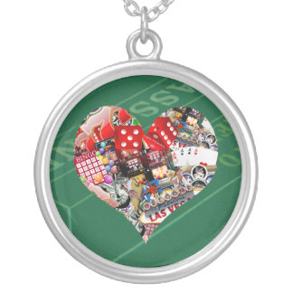 Heart - Las Vegas Playing Card Shape Round Pendant Necklace