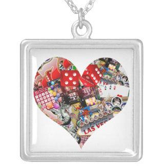 Heart - Las Vegas Playing Card Shape Square Pendant Necklace