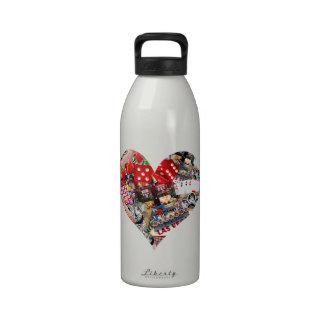 Heart - Las Vegas Playing Card Shape Reusable Water Bottles