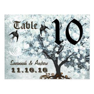 Heart Leaf Aqua Gray Damask Tree Table Number Card Postcard