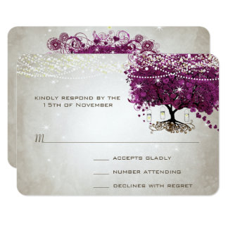 Heart Leaf Dark Sangria Tree Wedding Card