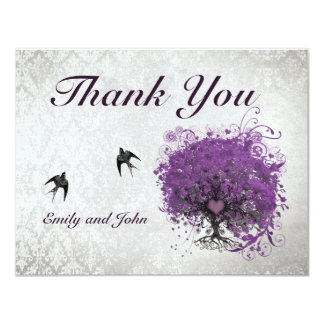 Heart Leaf Eggplant Tree Vintage Birds Thank You Card