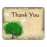 Heart Leaf Emerald Tree Dove Bird Thank You Announcements