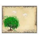 Heart Leaf Emerald Tree Dove Bird Wedding RSVP 4.25x5.5 Paper Invitation Card