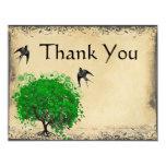 Heart Leaf Emerald Tree Love Bird Thank You 4.25x5.5 Paper Invitation Card