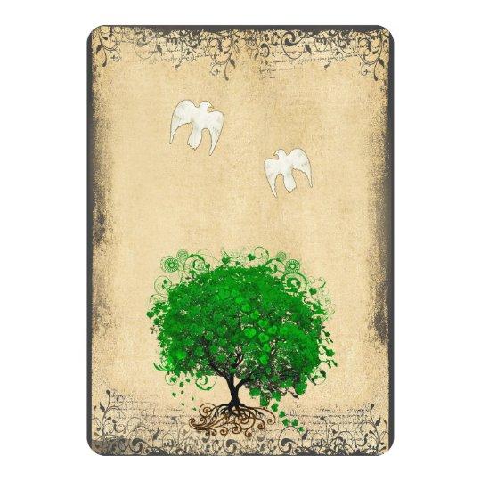 Heart Leaf Emerald Tree Vintage Doves Weddings Card