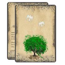 Heart Leaf Emerald Tree Vintage Doves Weddings Invitation