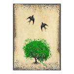 Heart Leaf Emerald Tree Vintage Love Bird Weddings 5x7 Paper Invitation Card