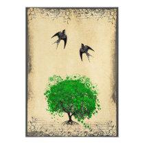 Heart Leaf Emerald Tree Vintage Love Bird Weddings Invitation