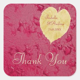 Heart Leaf- Fall Wedding Thank You Wedding Sticker