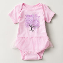 Heart Leaf Lavender Tree Vintage Bird Wedding Baby Bodysuit