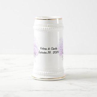 Heart Leaf Lavender Tree Vintage Bird Wedding Beer Stein