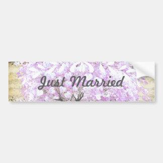 Heart Leaf Lavender Tree Vintage Bird Wedding Bumper Sticker