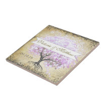 Heart Leaf Lavender Tree Vintage Bird Wedding Ceramic Tile