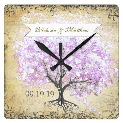 Heart Leaf Lavender Tree Vintage Bird Wedding Square Wallclock