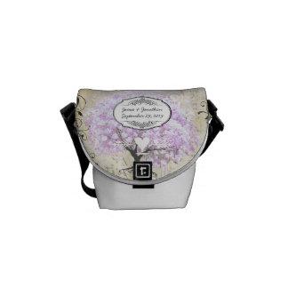 Heart Leaf Lavender Tree Vintage Bird Wedding Courier Bags