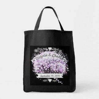 Heart Leaf Lavender Tree Vintage Bird Wedding Grocery Tote Bag