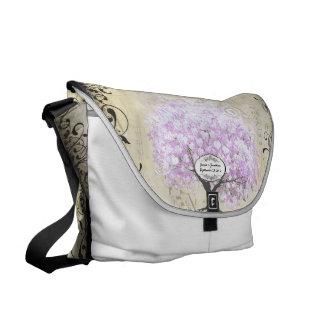 Heart Leaf Lavender Tree Vintage Bird Wedding Messenger Bags