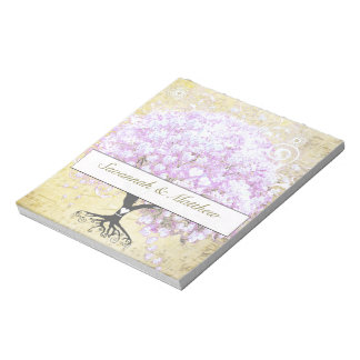 Heart Leaf Lavender Tree Vintage Bird Wedding Note Pad