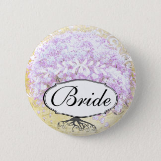 Heart Leaf Lavender Tree Vintage Bird Wedding Pinback Button