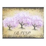 Heart Leaf Lavender Tree Vintage Bird Wedding Postcard
