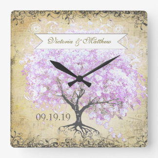 Heart Leaf Lavender Tree Vintage Bird Wedding Square Wall Clock