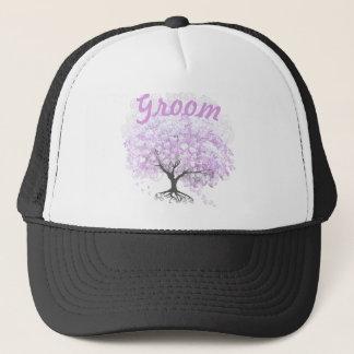 Heart Leaf Lavender Tree Vintage Bird Wedding Trucker Hat
