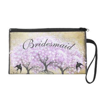 Heart Leaf Lavender Tree Vintage Bird Wedding Wristlets