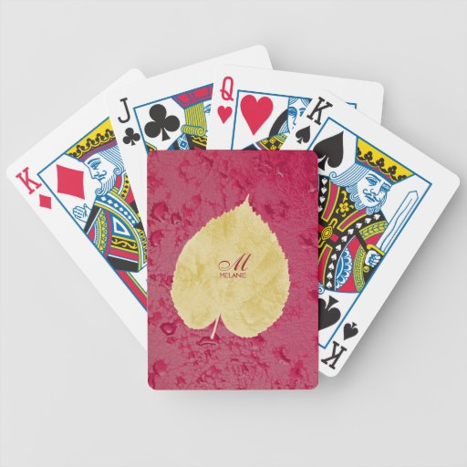 Heart leaf on purple background bicycle playing cards