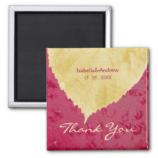 Heart Leaf on Purple - Fall Wedding Thank You 2 Inch Square Magnet