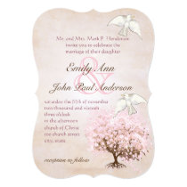Heart Leaf Pink and Love Bird Brown Tree Dove Card