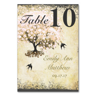 Heart Leaf Pink Tree Vintage Bird Table Card