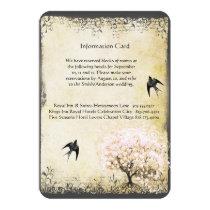 Heart Leaf Pink Tree Vintage Wedding Info Cards