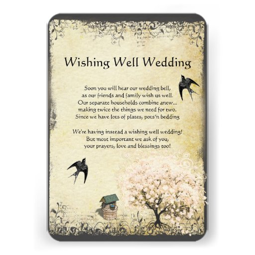 Heart Leaf Pink Tree Vintage Wishing Well Wedding 35x5 Paper Invitation Card