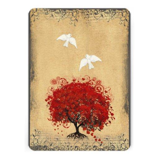Heart Leaf Red Tree Dove Love Bird Wedding Invite