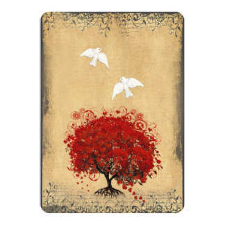 Heart Leaf Red Tree Dove Love Bird Wedding Invite