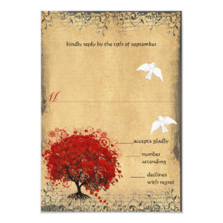 Heart Leaf Red Tree Dove Love Bird Wedding RSVP Card