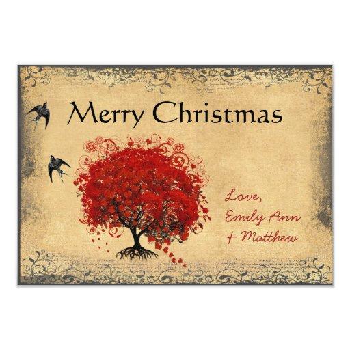 Heart Leaf Red Tree Vintage Bird Christmas Card