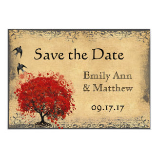 Heart Leaf Red Tree Vintage Bird Save the Date Card