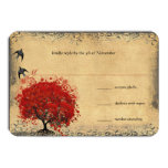 Heart Leaf Red Tree Vintage Birds Wedding RSVP Custom Announcements
