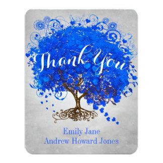 Heart Leaf Royal Blue Tree Thank You Wedding Card