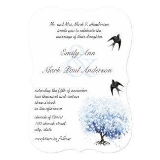 Heart Leaf Soft Powder Blue Tree Vintage Bird Card