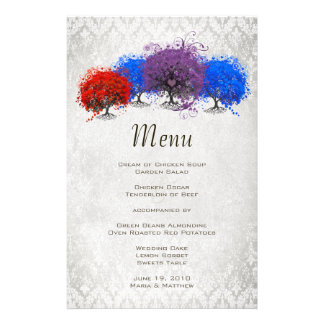 Heart Leaf Tree Red Blue and Purple Menu Personalized Stationery
