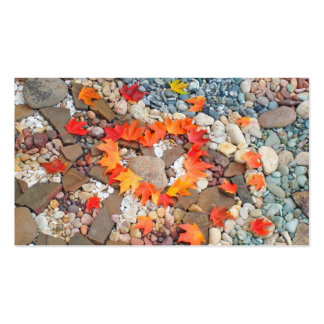 Heart Leaves Business Cards Rock Garden Nature
