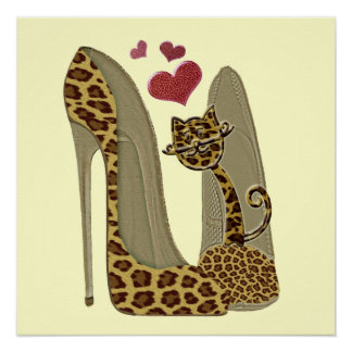 Heart Leopard Stiletto Shoes and Cat Art Poster Perfect Poster