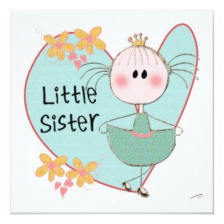 Heart Little Sister 5.25x5.25 Square Paper Invitation Card