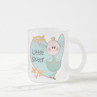 Heart Little Sister 10 Oz Frosted Glass Coffee Mug